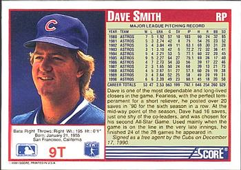 1991 Score Rookie & Traded #9T Dave Smith Back