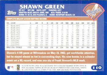 2003 Topps #110 Shawn Green Back
