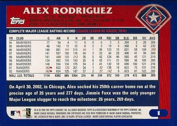 2003 Topps #1 Alex Rodriguez Back