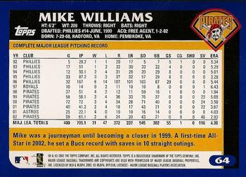 2003 Topps #64 Mike Williams Back