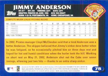 2003 Topps #78 Jimmy Anderson Back