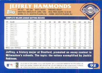2003 Topps #92 Jeffrey Hammonds Back