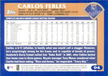 2003 Topps #94 Carlos Febles Back