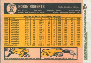 2003 Topps All-Time Fan Favorites #97 Robin Roberts Back