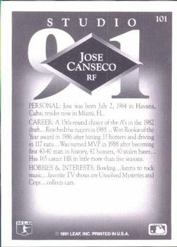 1991 Studio #101 Jose Canseco Back