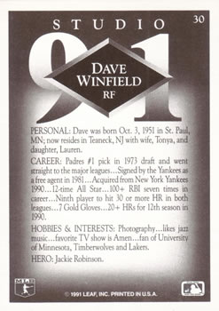 1991 Studio #30 Dave Winfield Back