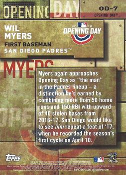 75c6cfb1b0e 2018 Topps - MLB Opening Day  OD-7 Wil Myers Back