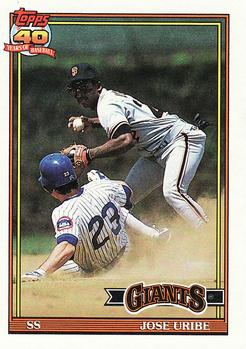 1991 Topps #158 Jose Uribe Front
