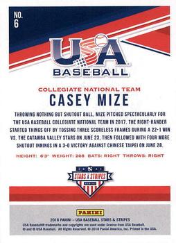 2019 Panini Stars and Stripes Longevity Base Baseball #70 Casey Mize USA Baseball Collegiate National Team Official USA Trading Card