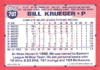 1991 Topps Traded #70T Bill Krueger Back
