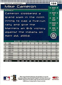 2004 Donruss #184 Mike Cameron Back