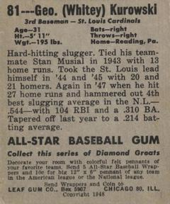 1948-49 Leaf #81 George Kurowski Back