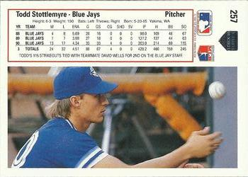 1991 Upper Deck #257 Todd Stottlemyre Back