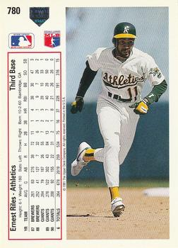 1991 Upper Deck #780 Ernest Riles Back