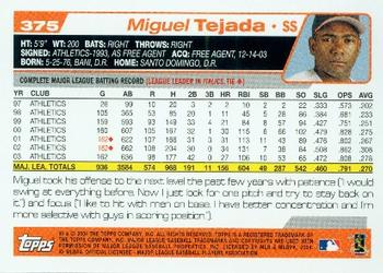 2004 Topps #375 Miguel Tejada Back