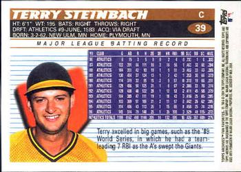 2004 Topps All-Time Fan Favorites #39 Terry Steinbach Back