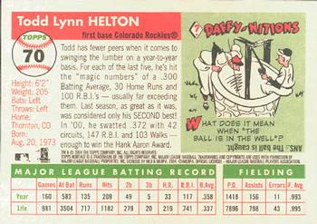 2004 Topps Heritage #70a Todd Helton Back