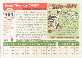 2004 Topps Heritage #464 Sean Casey Back