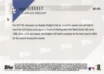 2018 Topps Opening Day #128 Alex Verdugo Los Angeles Dodgers Rookie Baseball Card