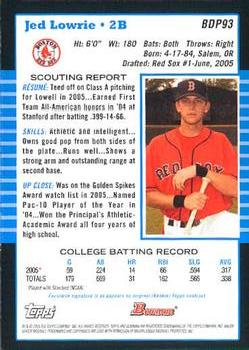 2005 Bowman Draft Picks & Prospects #BDP93 Jed Lowrie Back
