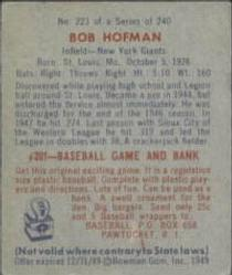 1949 Bowman #223 Bobby Hofman Back