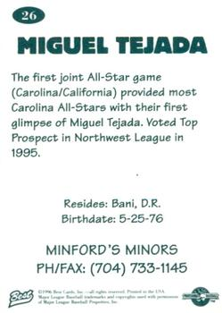 1996 Best Carolina League All-Stars 2 #26 Miguel Tejada Back