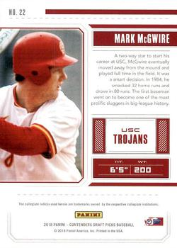 2018 Panini Contenders Draft Picks #22 Mark McGwire Back