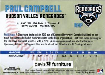 2018 Grandstand Hudson Valley Renegades #NNO Paul Campbell Back