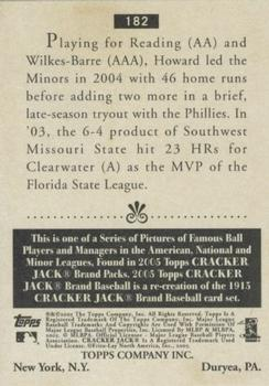 2005 Topps Cracker Jack #182 Ryan Howard Back