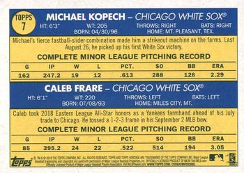 2019 Topps Heritage #7 Michael Kopech / Caleb Frare Back