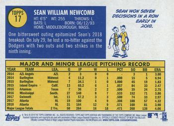 2019 Topps Heritage #17 Sean Newcomb Back