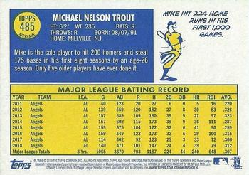 2019 Topps Heritage #485 Mike Trout Back