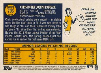 2019 Topps Heritage #703 Chris Paddack Back