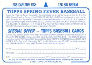 1987 Topps Stickers Hardback Test Issue #126 / 288 Sid Bream / Carlton Fisk Back