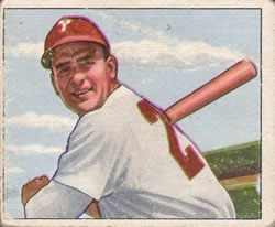 1950 Bowman #121 Andy Seminick Front