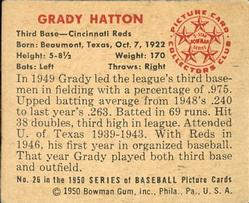1950 Bowman #26 Grady Hatton Back