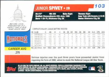 2006 Topps #103 Junior Spivey Back