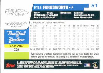 2006 Topps #81 Kyle Farnsworth Back