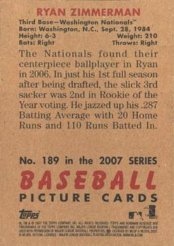 2007 Bowman Heritage #189b Ryan Zimmerman Back