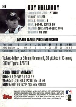 2007 Finest #91 Roy Halladay Back