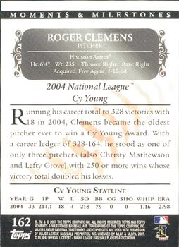 2007 Topps Moments & Milestones #162-201 Roger Clemens Back