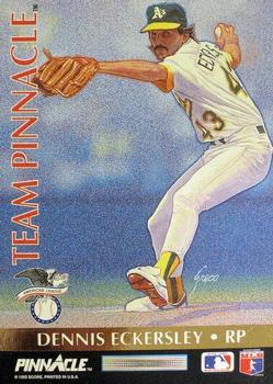1992 Pinnacle Team #11 Dennis Eckersley Rob Dibble Oakland Athletics Card