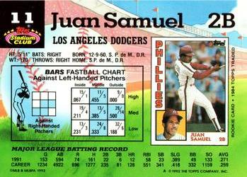 1992 Stadium Club #11 Juan Samuel Back