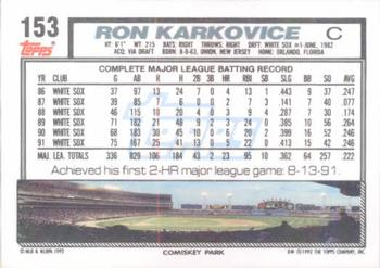 1992 Topps #153 Ron Karkovice Back