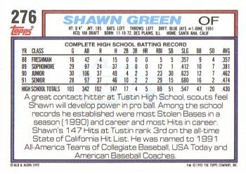 1992 Topps #276 Shawn Green Back