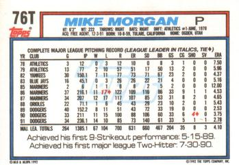 1992 Topps Traded #76T Mike Morgan Back