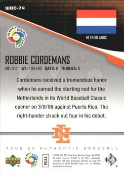 2006 SP Authentic - WBC Future Watch #74 Rob Cordemans Back
