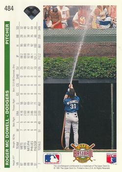 1992 Upper Deck #484 Roger McDowell Back