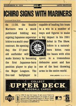 2006 Upper Deck First Pitch - Hot Stove Headlines #HS8 Ichiro Suzuki Back