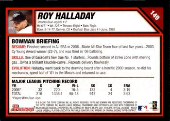 2007 Bowman - Gold #149 Roy Halladay Back
